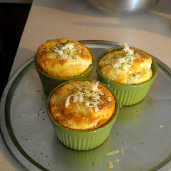 Picture of three quail eggs havarti souffles