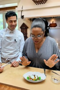 Oprah Winfrey cooking her quail eggs breakfast recipe