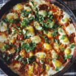 Shakshuka With Feta Cheese And Quail Eggs