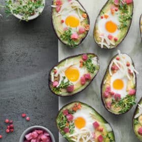 Eat quail eggs on keto with avocados and ham